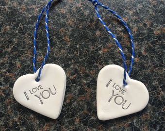 """Handmade Clay Heart inscribed """"I Love You"""" with blue & silver string (1)"""