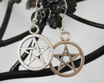 Pentagram Pentacle Celtic Dangle Drop Silver Earrings Pagan Wicca