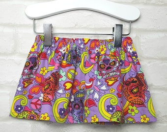 Purple Funky Rainbow Skull Cotton Skirt