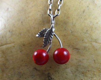 Coral Cherry Necklace with Handmade Sterling Silver Leaves and Bail - Food Jewelry - Cherry Pendant - Coral Jewelry - Unique Gift