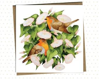 Postcard Robins in Flowers // art print, European Robin, moonflowers, blooming, valentine, birds, love, card, bird