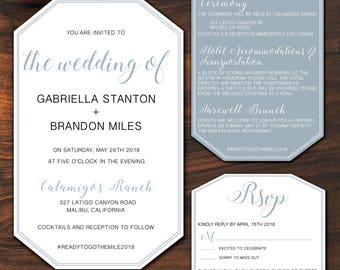Vertical Hexagon Invitation
