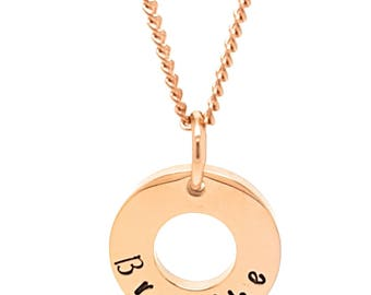 """Coorabell Crafts Rose Gold minimalist pendant, Inscribed with the word """"Breathe"""" Affirmation reminder to slow down."""