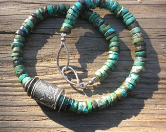 Gorgeous Rustic Turquoise Necklace with Anne Choi Bead, Sterling Silver, Turquoise, Beads, Green to Blue, Anne Choi Bead, Pine Branch Design