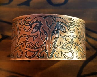 Art Nouveau Goat Head Cuff Bracelet - demonic goat, satanic jewelry, devil demon bracelet