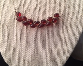 woven onion cut garnet layering necklace