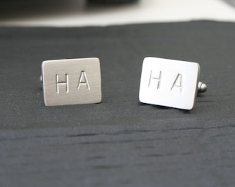 Personalised Stamped Brushed Cufflinks