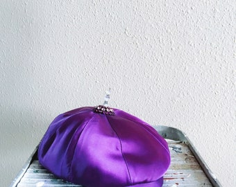 Vintage Purple Beret Mid Century with Jeweled Accent