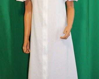 Vintage 70's FLO WEINBERG White Cotton Hippy Caftan Lounging Maxi Dress Size P