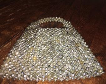 Vintage 1950s Silver Beaded Handbag Prom Purse Wedding Bag