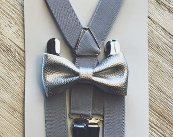 Silver Boys Bow Tie Silver Boys Bow Tie Set Suspender Bow Tie Set Grey Ring Bearer Outfit Boys Wedding Outfit