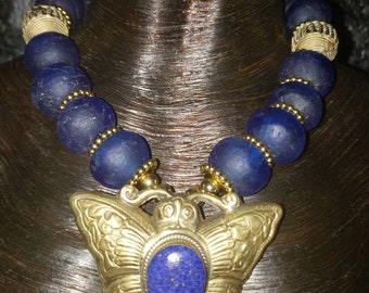 Tibetan Brass Butterfly Statement Pendant African Blue Glass Tribal Statement Necklace KATROX Lapis Lazuli Bold Chunky Lost Wax Ethnic Heavy