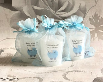 Large Handmade Personalised baby Shower Buggy Design Votive Candle Favours