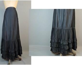 Vintage Victorian Black Cotton Skirt or Petticoat Slip, 25 waist, Antique Long, Ruffled 1800s