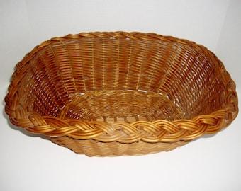 Vintage Wicker Basket 1960's Large Woven Wall Hanging Knitting Basket Storage