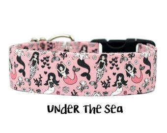 Girl Dog Collar, Mermaid Dog Collar, Pink Girl Collar, Beach Dog Collar, Nautical Dog Collar, Girly (Upgrade to Metal Buckle or Martingale)