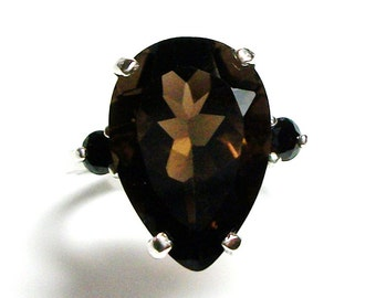 "Smokey quartz, smokey quartz ring, quartz spinal  ring , 3 stone ring, black brown,  anniversary, s 5 3/4  ""Smoke Signals"""