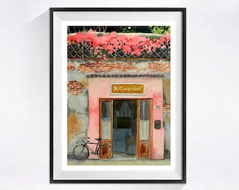 Old Door Art Print, Watercolor painting, bike Watercolour, bicycle artwork, Cycling wall art, Old European building, Bicycle wall art, Pink