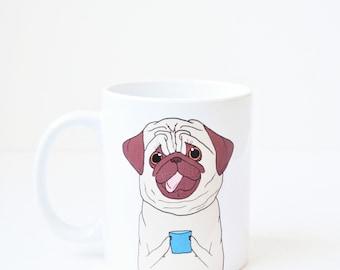 Pug mug - coffee cup pug birthday gift lover pet dog pug mug cute christmas gift holiday white elephant xmas present stocking stuffer