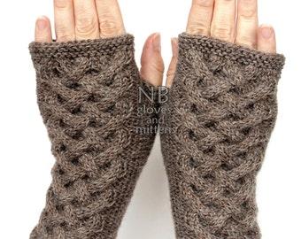 Hand Knitted Fingerless Gloves, Brown, Gloves & Mittens
