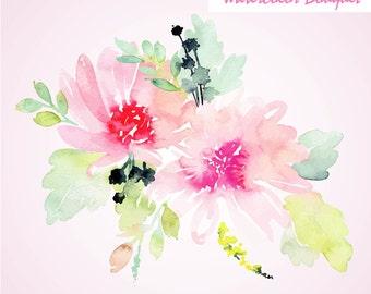 Pastel watercolor Floral Bouquet, Watercolor flowers, Watercolor floral elements. Watercolor invitation elements, watercolor clip arts