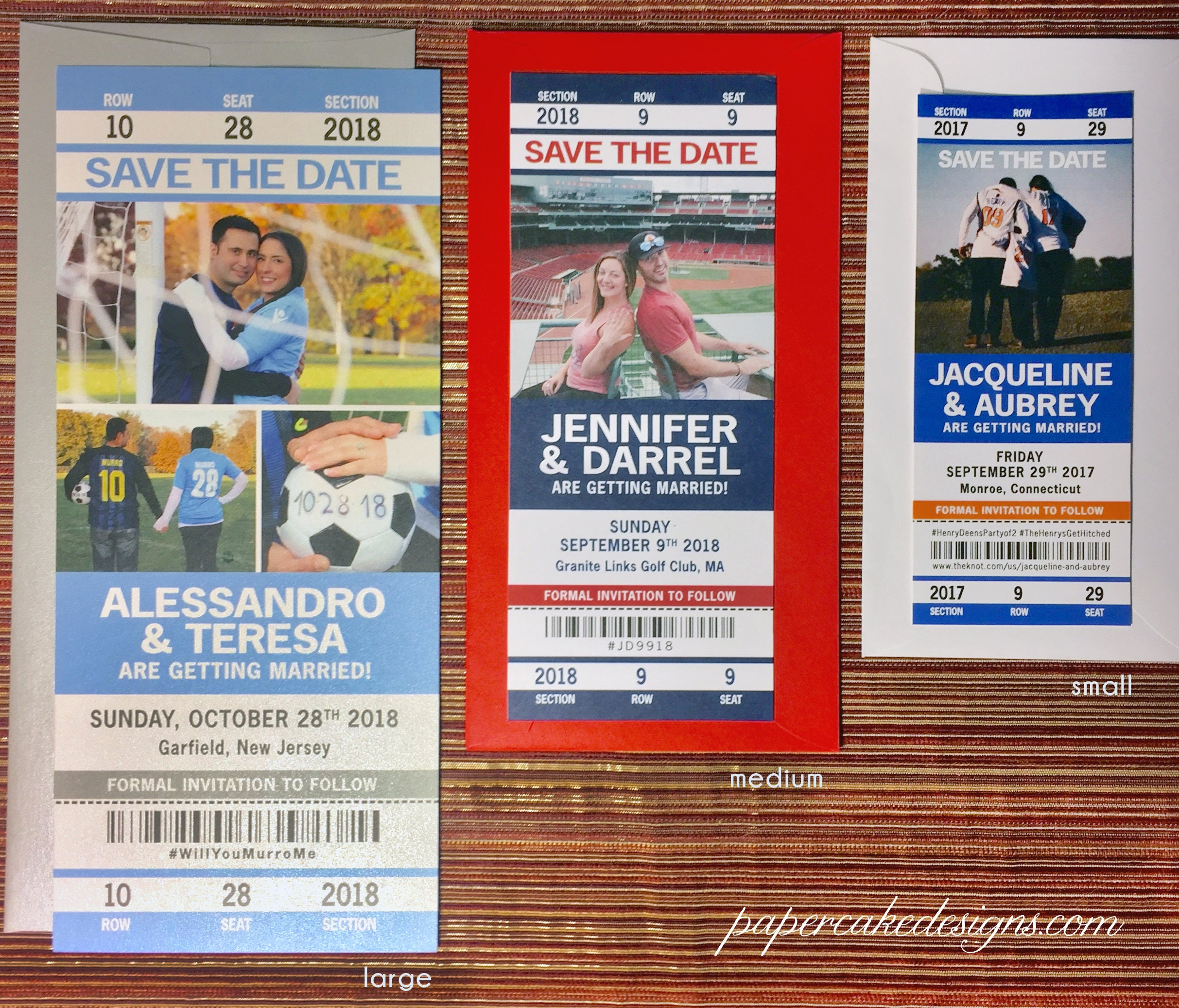Sport Ticket Wedding Save the Date / Invitation Tickets /