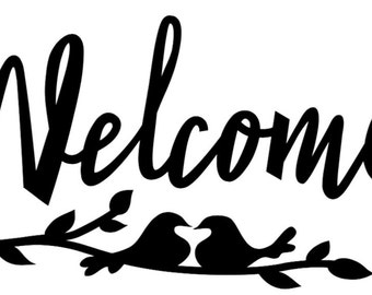 "Vinyl ""Welcome"" Front Door Decal with Birds and Branches - Wall Art - 5.5"" x 12"""