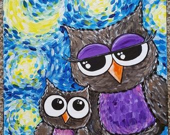 Owl Wall Decor, Playroom Decor, Nursery Decor, First Home, Colorful Owl Art, Owl Art For Kids, Owl Painting, Owl Decor, Nursery Art
