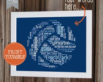 Volleyball - Your Team Names form a Volley ball - Coach Captain Trainer Appreciation Gift - Personalized Word Art - Printable Wall Art