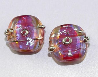 Handmade Lampwork beads Earring Pair Burgundy Pink Silver Glass SRA