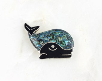 Vintage Mexico Alpaca Abalone Whale Pin