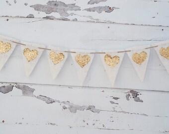 Wedding Gold Heart Banner, Gold Heart Banner, Heart Burlap Banner, Glitter Heart, Wedding Love Banner B006