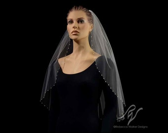Bridal Wedding Veil with One Inch Pearl Edge, Made With SWAROVSKI ELEMENTS