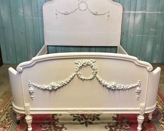 Antique full bedframe curved footboard white shabby chic distressed