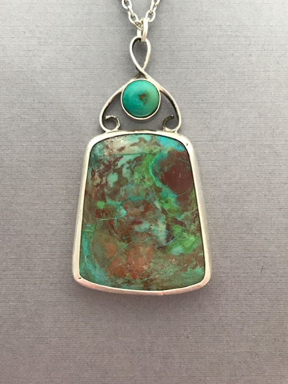 Parrot wing chrysocolla, turquoise, pendant, sterling silver, handmade