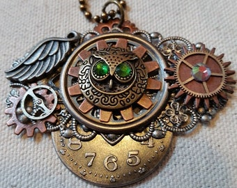 Steampunk Owl Gears Clock and Filigree Necklace
