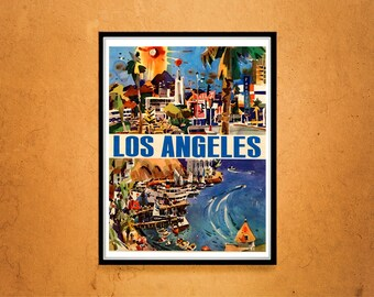 Reprint of an Los Angeles Travel Poster Circa 1960