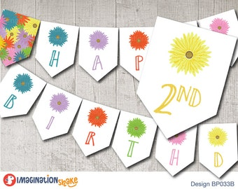 Daisy Birthday Party Banner PRINTABLE / Gerbera Flower Daisies Birthday Printables / Printable Party Banner / Daisy Banner / Flower Decor