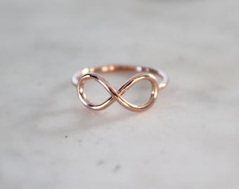 Dainty Gold Infinity Ring//Rose Gold OR Yellow 14kt. Gold Filled//Handcrafted