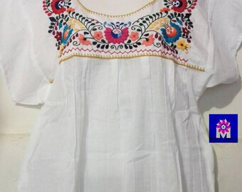 M-L Mexican blouse hand embroidered.