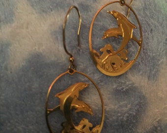 Sale! Dolphin earrings pierced  cut out 2 dolphins on wave 14 karat gold fill Mark Lau signed designer