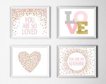 You Are So Loved Print You Are My Sunshine Print Gray Pink And Gold Nursery Decor Baby Girl Nursery Wall Art Printable Set of 4 Prints