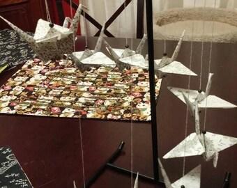 Spiral origami crane mobile