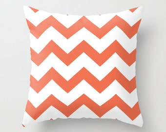 Coral Chevron Pillow with insert - Coral Chevron Pattern Pillow with insert - Modern Throw Pillow - Home Decor -