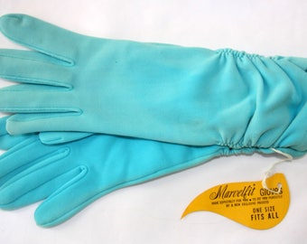 Vintage Marvelfit Aqua Blue Fabric Mid Length Dress Gloves with Gathered Wrists - One Size, Small Medium Large, Unworn
