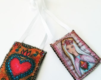 Sacred Love Scapular -   Handmade - Original Art by FLOR LARIOS