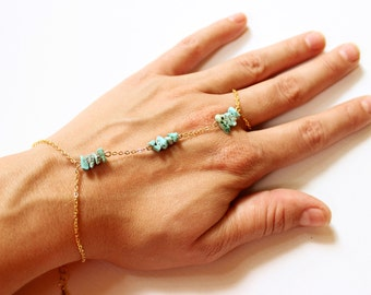 Genuine Turquoise Hand Chain - Turquoise Chip Bead Slave Bracelet - Turquoise and Gold Slave Bracelet