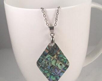 Diamond abalone necklace, abalone pendant necklace, abalone necklace