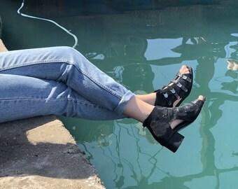 Leather Sandals, Black Sandals, Women's Sandals, Sandals Heel, Womens Shoes, Open Shoes, Strap Sandals, Low Heel, Sandal Boot, Peep Toe Heel