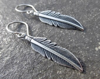Silver Feather Earrings With Handmade 925 Sterling Silver Ear Wires - Boho - Gypsy - Southwest - Festival - Gift Idea - Everyday Earrings